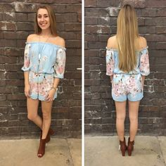The colors in this off the shoulder romper are so pretty and definitely have us on our toes for Spring! - $45 #springfashion #spring  #fashionista #shoplocal #aldm #apricotlaneboutique #apricotlanedesmoines #shopaldm #desmoines #valleywestmall #fashion #apricotlane #newarrival  #shopalb  #ootd #westdesmoines  #shopapricotlaneboutiquedesmoines #ontrend
