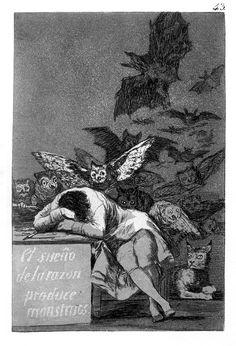 """""""Aklın uykusu canavarları doğurur"""" Francisco de Goya, 1797 Gravur baskı"""
