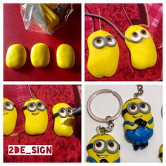#minions #despicableme #fimo How to do a Minion keychain handmade with fimo. Required: Tack Fimo (yellows, white, grey, black, brown and blue or acrylics colour), Tools, Copic multi liner black, Oven to cook fimo