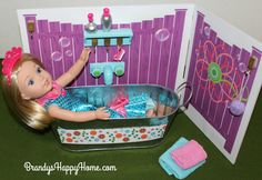 Find out how you can DIY an American Girl Wellie Wishers bathroom with a tub and potty. Get FREE Wellie Wishers Printables...SO EASY!