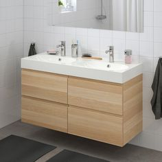 GODMORGON / BRÅVIKEN Wash-stand with 4 drawers, white stained oak effect, Brogrund tap, 120x48x68 cm - IKEA Floating Bathroom Vanities, Double Bowl Sink, Wash Stand, Plastic Drawers, Basin Mixer Taps, White Stain, Vanity Units, Drawer Fronts, Faucet