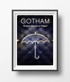 Alternative tv serie gotham poster art digital print neon club. #gothic #gotham #poster #gothamposter #wallart #goldenplanet #geek #penguin