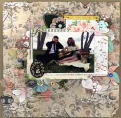 Guitar by Alice Scraps Wonderland is a sweet and shabby chic engagement photo layout.  Little bits and bobs poke out from layers of paper and the photo.