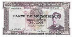 MOÇAMBIQUE - CÉDULA DE 500 ESCUDOS ANO 1967 FLOR DE ESTAMPA - PEÇA EM EXCELENTE ESTADO DE CONSERV