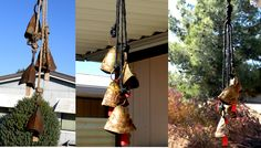 These are chimes that I re-purposed this Spring. There is a before and after picture of them.
