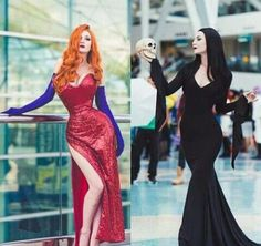 Cosplay - Jessica Rabbit and Morticia Addams - COSPLAY IS BAEEE!!! Tap the pin now to grab yourself some BAE Cosplay leggings and shirts! From super hero fitness leggings, super hero fitness shirts, and so much more that wil make you say YASSS!!!