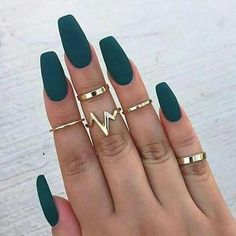 A manicure is a cosmetic elegance therapy for the finger nails and hands. A manicure could deal with just the hands, just the nails, or Matte Nail Art, Acrylic Nail Art, Acrylic Nail Designs, Nail Art Designs, Acrylic Nails Coffin Matte, Acrylic Nails Green, Pink Coffin, Autumn Nails Acrylic, Matte Stiletto Nails