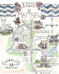Custom Wedding Map-South Carolina- Hand Drawn Original Artwork JLH Art Studio. $125.00, via Etsy.