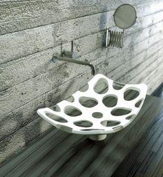 30 Gorgeous Modern Bathroom Sink Design Ideas for Bathroom Looks More Luxurious Unique Bathroom Sinks, Bathroom Sink Design, Bathroom Sink Tops, Bathrooms, Concrete Bathroom, Small Bathroom, Corian Sink, Dupont Corian, Lavabo Design