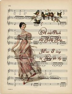 music printable with birds and vintage woman in gown