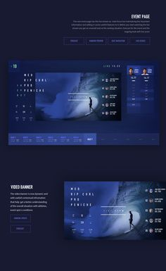 World Surf League Apple TV app is a product design concept focused on improving the experience of WSL live stream and events info. Web Design, Surf Design, Game Ui Design, Design Trends, Desgin, World Surf League, Ui Patterns, Newspaper Design, Mobile App Design