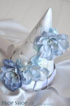 Bella Blue Flower BIrthday Party Hat