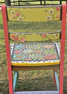 Hand Painted Dining Chair by cdlwin on Etsy, $165.00