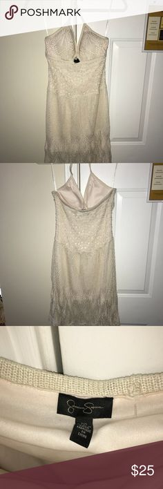 super cute & beachy crochet halter dress crochet halter dress w/ keyhole detail in the front. lined. Jessica Simpson Dresses