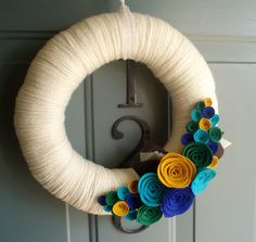 Yarn Wreath Felt Handmade Door Decoration - Peacock Garden 12in.