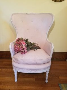 Vintage Wingback Chair updated in Blush Pink and White Chalk Blush Pink Paint, Pink Office Chair, Refinishing Furniture, Chair Cushions, Chair, Home Decor, Bedroom Chair, Vintage Wingback Chair, Bedroom Styles