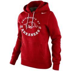 Nike Arkansas Razorbacks Womens School Stamp Pullover Hoodie - Cardinal