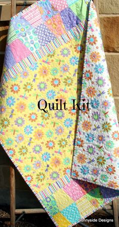 LAST ONE Quilt Kit, Baby Girl, Hi De Ho Me and My Sister Moda, Quick Easy Simple Craft Project Quilting, Pink Daisies, Precut Tumbler Charm