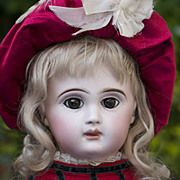 """19"""" (49 cm.) Very Rare French Bisque Brown-Eyed Paris bebe doll by Danel&Cie"""