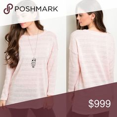 "🎁JUST IN!!! Gorgeous light pink sweater S-L New arrival! Looks super cute and well made, working on getting additional pics up! 50% Poly / 50% Rayon. Made in USA! Length is 30"" - runs pretty true to size relaxed fit. Sweaters Crew & Scoop Necks"