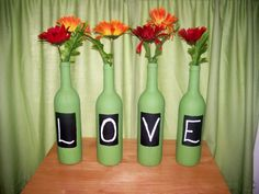 Wine Bottle Decor for Candy Bar :  wedding diy flowers green inspiration ivory orange reception red 100 1886