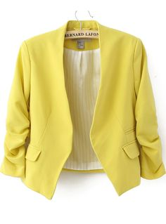 Yellow Collarless Ruched Sleeve Crop Back Blazer US$35.00