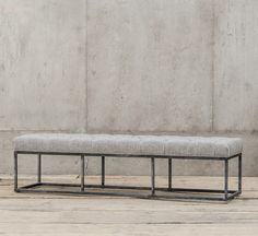 Bordeaux Industrial Metal Upholstered Dining Bench 72""