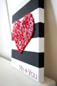 Valentines+Day+black+and+white+striped+and+red+button+heart+canvas