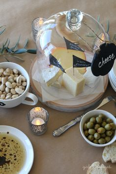 Wine Party Ideas from @joannstores // Entertaining Cheese and Bread Spread with Chalkboard Tags