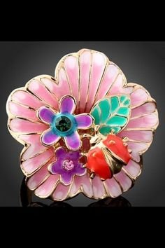 Super Cute Flower and Lady Bug Gold Plated Ring Size 7. Starting at $7 on Tophatter.com!
