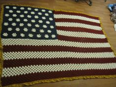American Flag Red White Blue Afghan Crochet Blanket - FREE SHIPPING. $65.00, via Etsy.