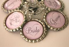 Wine charms for the wedding party...like these! Wish they were more rustic...$18