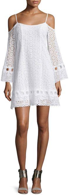 Nanette Lepore Cold-Shoulder Eyelet A-line Dress, White