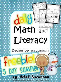 {FREEBIE!!} Daily Math and Literacy Winter {December and January} This mini packet includes 5 sample pages for you to try in your classroom for free!!