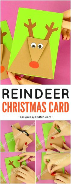DIY Reindeer Christmas Card. Fun Christmas Craft Idea for Kids to Make. #Christmascraftsforkids #DIYChristmascard #Reindeercraftsforkids