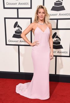 Grammys Best Dressed 2016: Ellie Goulding wore a pale blush column gown by Stella McCartney with spaghetti straps that featured an intricate beaded back. Stunning!