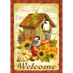 Toland - Autumn Birds - Decorative Welcome Fall Birdhouse Pumpkin Flower… Fall Garden Flag, Garden Flags, Decoupage, Foto Transfer, Autumn Illustration, Pintura Country, Welcome Fall, Bird Tree, House Flags