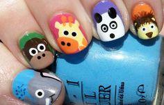 Diseños de uñas para niñas, diseño de uñas para niñas con animales.  Follow! #uñas #nailart #uñassencillas