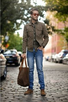 Shop this look on Lookastic: http://lookastic.com/men/looks/olive-longsleeve-shirt-brown-denim-jacket-blue-jeans-brown-derby-shoes/136 — Olive Long Sleeve Shirt — Brown Denim Jacket — Blue Jeans — Brown Suede Derby Shoes