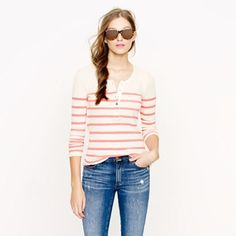 J. Crew navy stripe thermal henley sweater top M Size medium. Worn a few times. In excellent condition. J. Crew Tops Tees - Long Sleeve