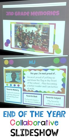 This end-of-the-year slideshow is perfect to showcase your students' favorite memories. 2nd Grade Classroom, Future Classroom, End Of The Year Celebration, End Of The Year Class Party Ideas, End Of Year Activities, End Of School Year, Kindergarten Graduation, School Closures, Memory Books