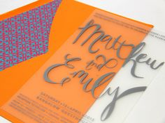 Stunning clear polypropylene invitation with colourful envelope lining www.papyrusdesign.com