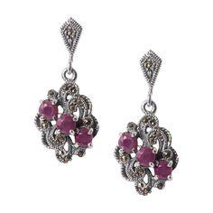Rose Stone Sterling Silver Drop Earrings - Armenian Jewelry