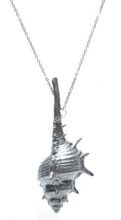 metallic conch shell necklace, $40