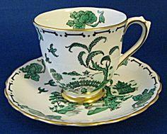 Cup and Saucer, Royal Chelsea Pekin Green Oriental. Honouring Queen Elizabeth II on her 60 year reign! Green China, Teapot Cookies, Green Tea Cups, Green Table, Cuppa Tea, My Tea, Tea Sets, Tea Cup Saucer, Vintage Tea