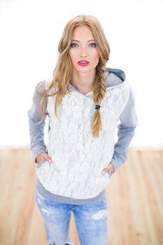 Sweatshirts - Hoodie Aliante in grau mit Spitze - ein Designerstück von Shoko bei DaWanda