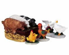 Lemax Village Collection The Hog Trough Set of 4 # 92613 $5.39