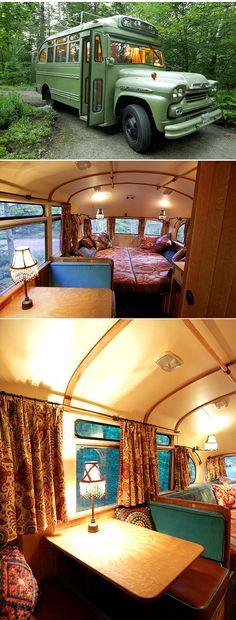 Such a fun idea. Converting a vintage school bus into a guest bedroom.