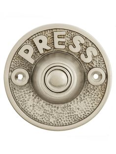 """Vintage """"Press"""" Door Bell Button In Solid, Cast Brass Buzzer, Antique Hardware, Entry Foyer, Door Knockers, House Numbers, Play Houses, Home Accents, Look Fashion, Home Projects"""