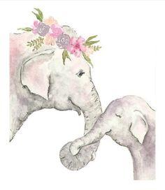 Elephant printable - Elephant nursery print - digital download - Elephant watercolor - baby elephant